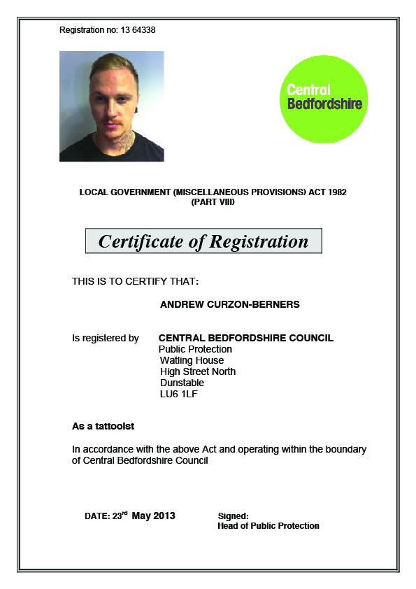 AJ Curzon Berners - Health Certificate
