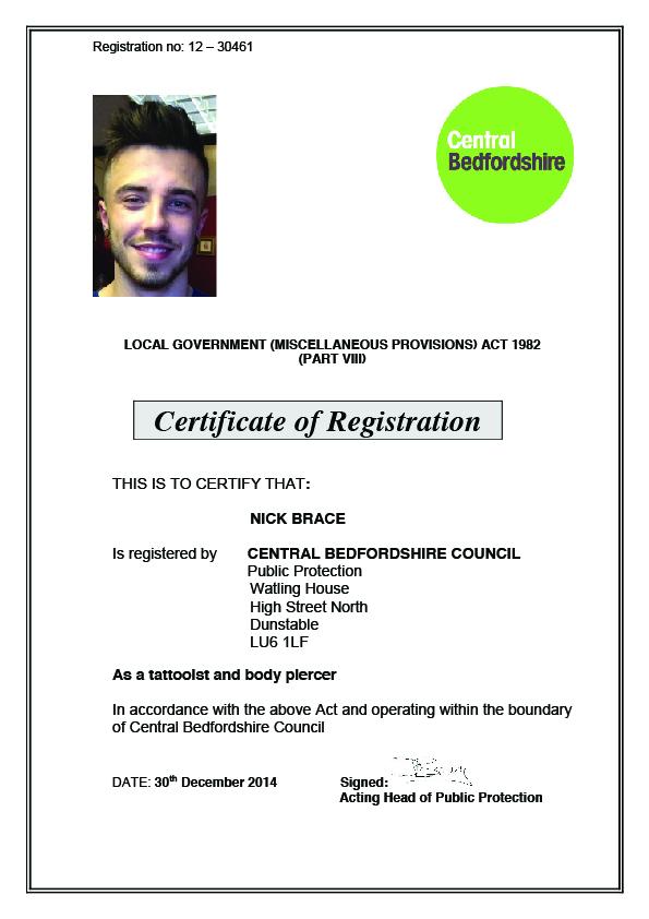 Nick Brace - Health Certificate