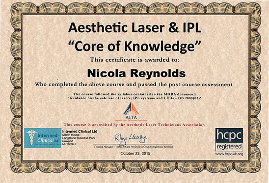 Nicola Reynolds - Laser Certificate