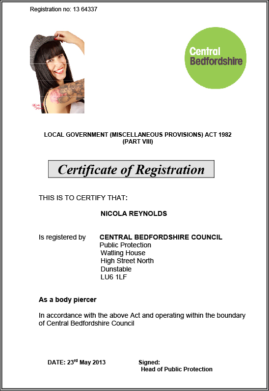 Nicola Reynolds - Health Certificate