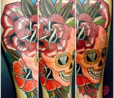 Candy Skull & Flowers