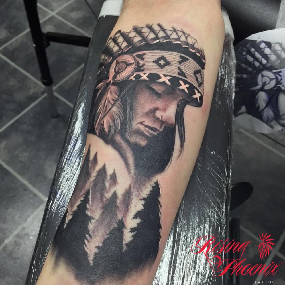 Native American Sleeve Rising Phoenix Tattoo