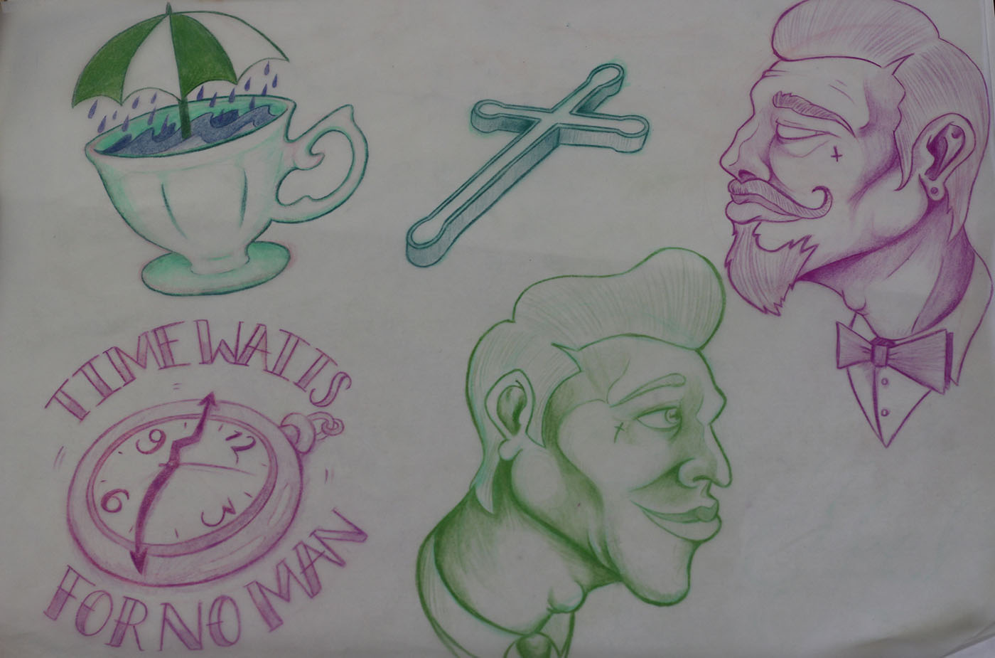 Kamen's Sketches: Clock, Cup & Gentlemen