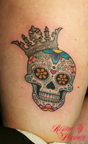 Colourful Crowned Candy Skull