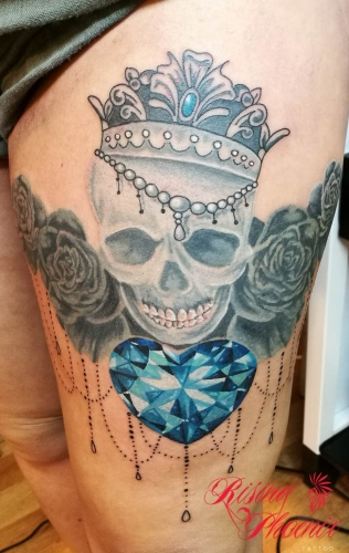 Crowned Skull & Diamond Heart