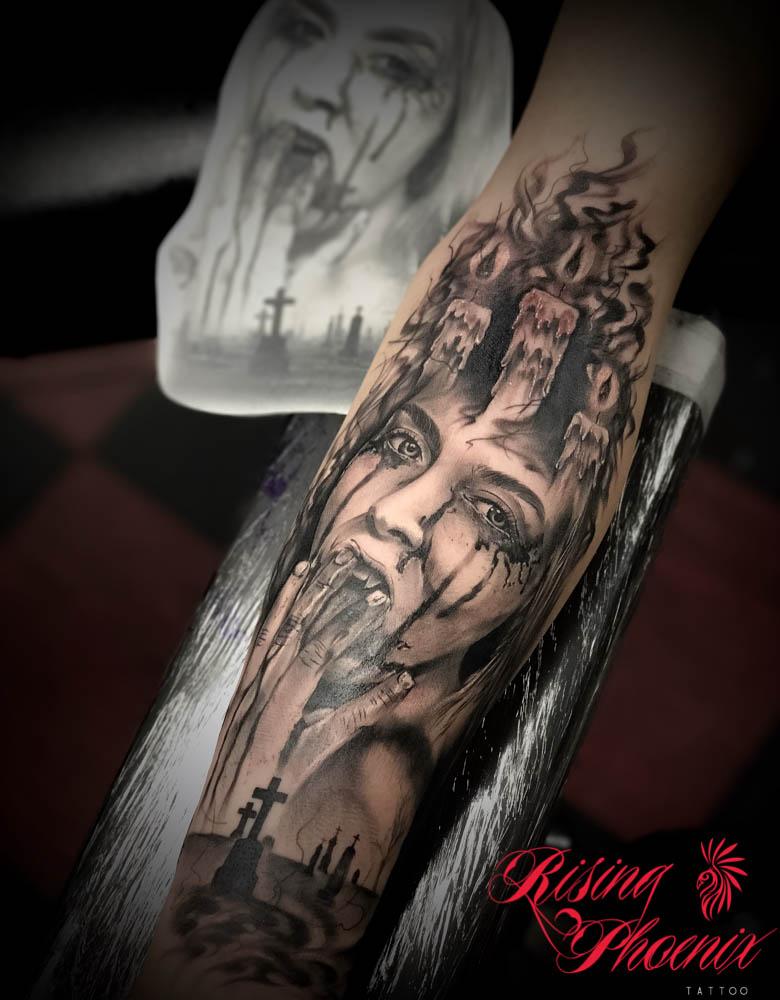 Realistic Zombie Girl Rising Phoenix Tattoo