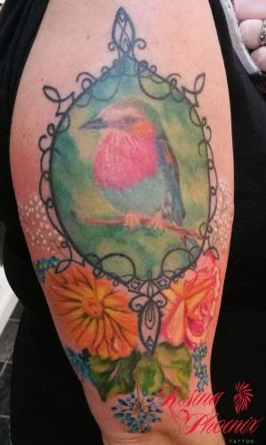 Watercolour Bird & Flowers