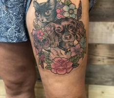 Cat, Dog & Flowers