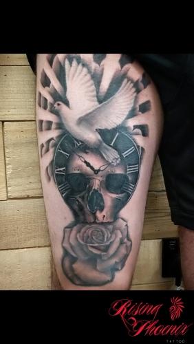 Dove, Skull & Clock