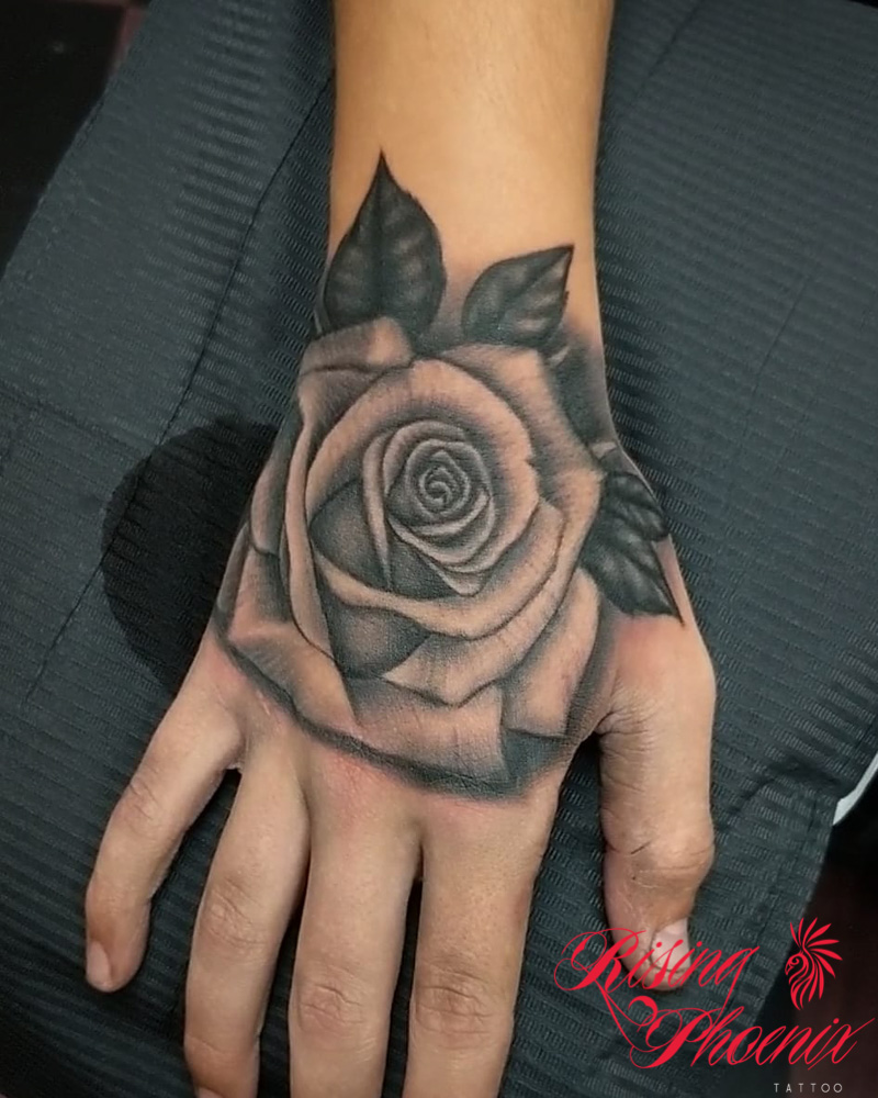 Black & Grey Hand Rose