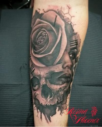Face, Rose & Skull
